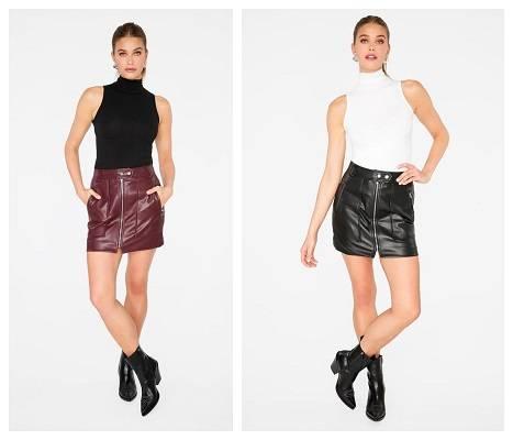 Faux Leather Biker Mini Skirt