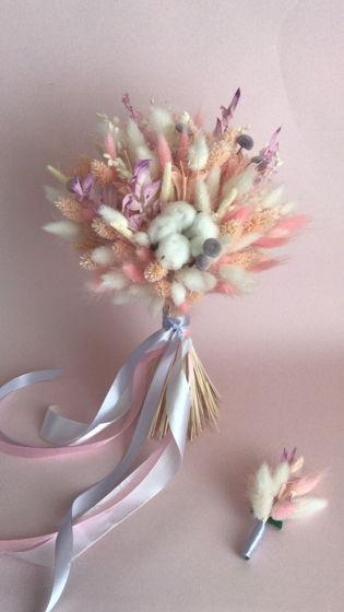 """Букет из сухоцветов """"Бело-Розовый"""" свадебный"""