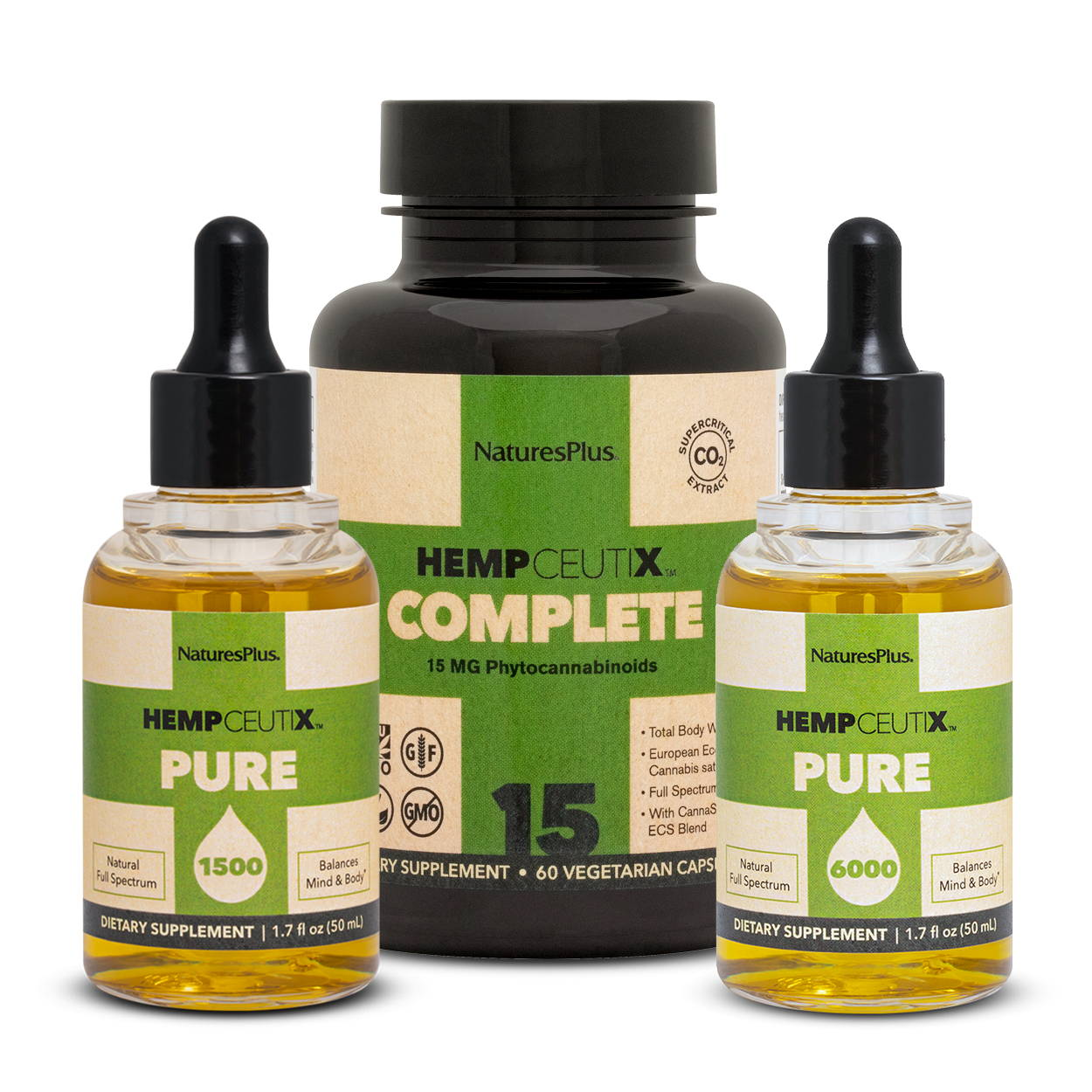 Premium stack image containing 1 bottle of Hempceutix Pure6000, 1 Pure 1500 and 1 bottle of Complete 15