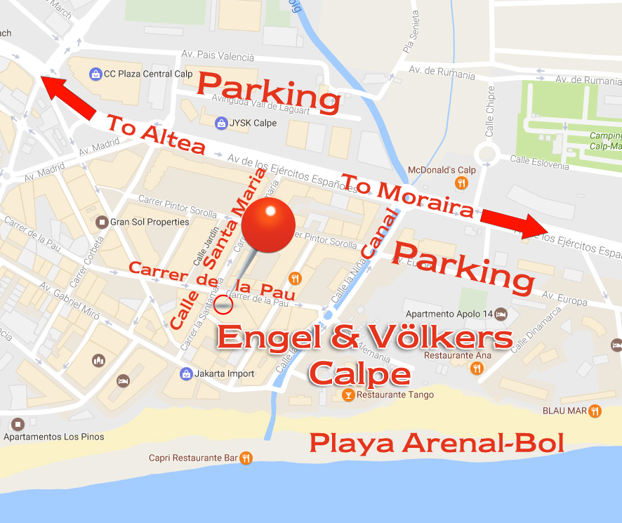 Calpe (Spain) - Engel Voelkers real estate agency calpe location map