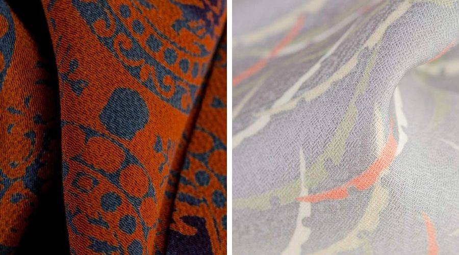 two examples of chirimen silk, one orange and one grey