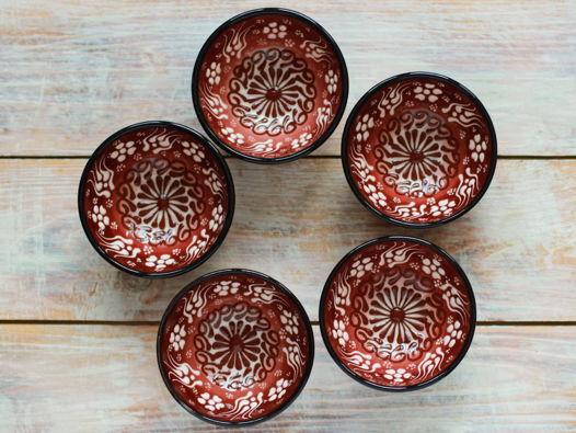 Набор коричневых керамических соусниц (5 шт)
