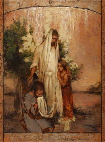 Jesus comforting a humble man kneeling at His feet and a little girl at His side.