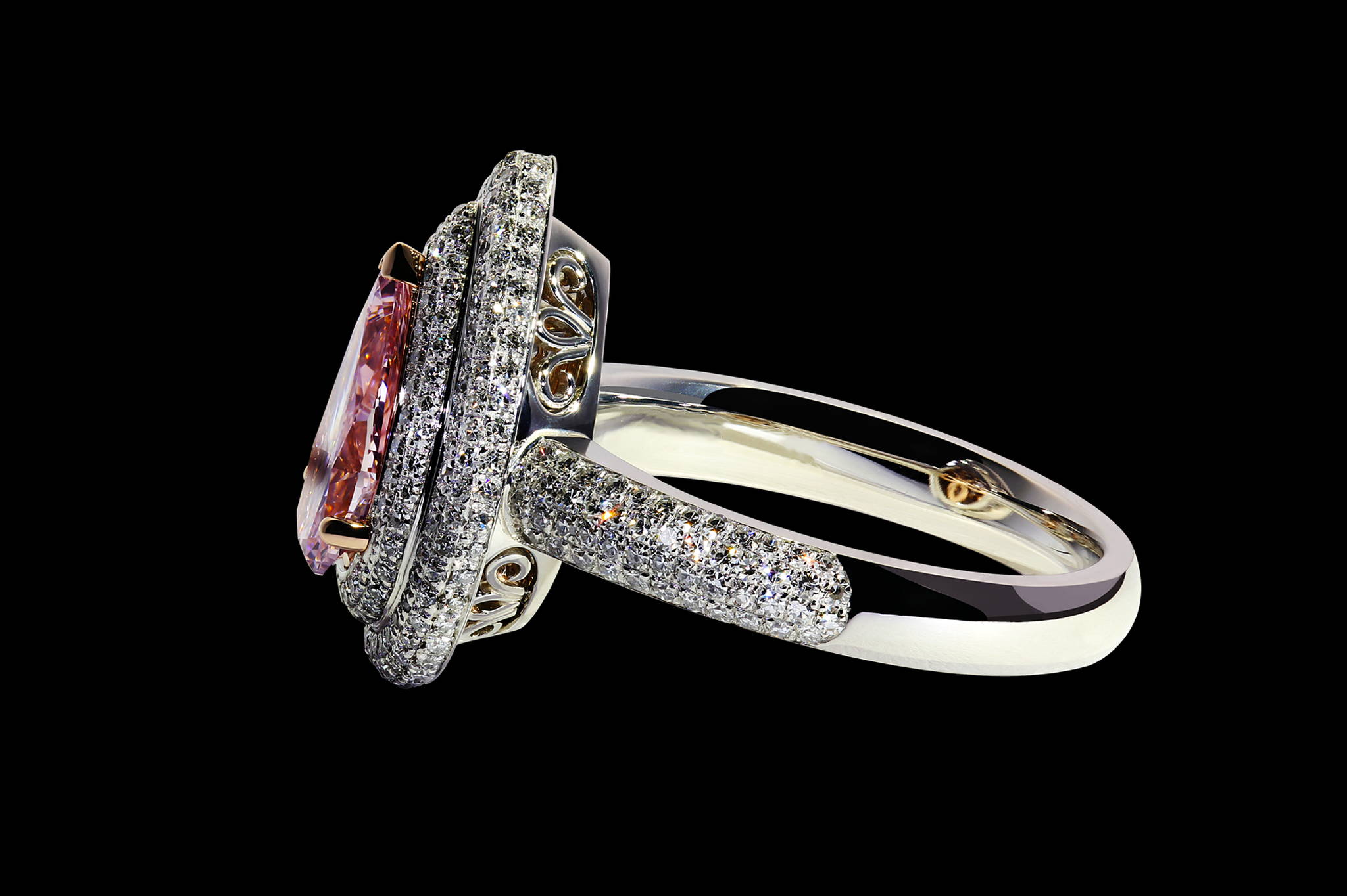 Vintage Style Pink Diamond Ring side view