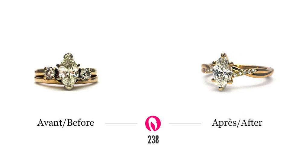 Upcycling d'une bague avec un diamant marquise au centre en une bague plus fine au style solitaire