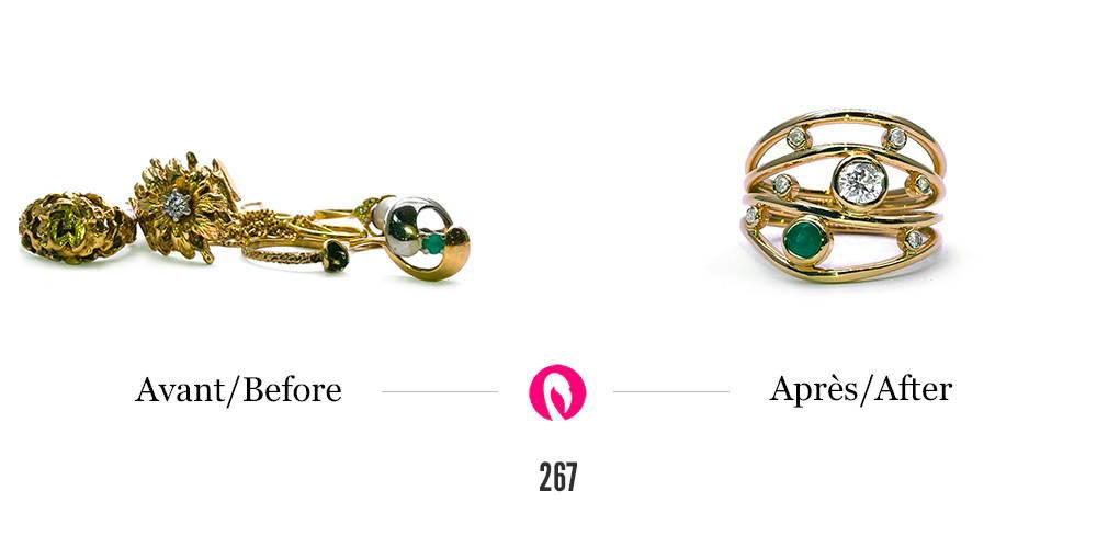 Transformation d'un amas de divers bijoux et récupération d'une émeraude et de plusieurs diamants pour en faire une bague de la collection La nuit étoilée de la bijouterie Flamme en rose avec l'émeraude et les diamants