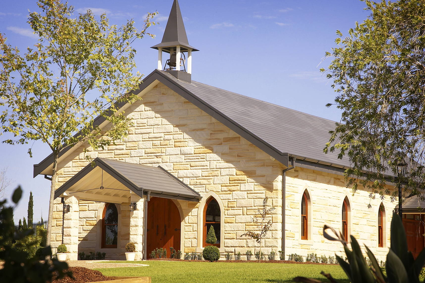 Beautiful photo of Peterson House Chapel from the front of the building
