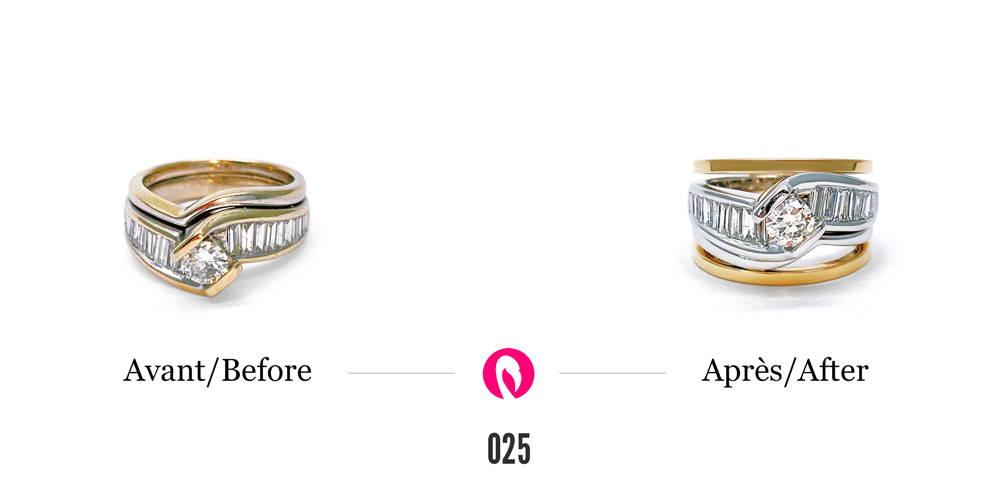 Légère transformation d'une bague texturée de lignes ondulées en or deux tons avec un diamant central.