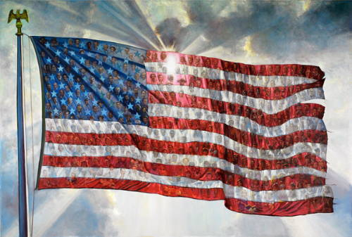 Painting of the American flag made up of smaller photos of individuals.