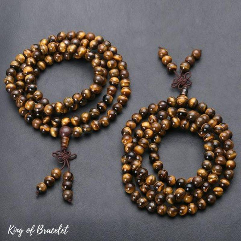 Bracelet en Mala 108 Perles en Oeil de Tigre - King of Bracelet
