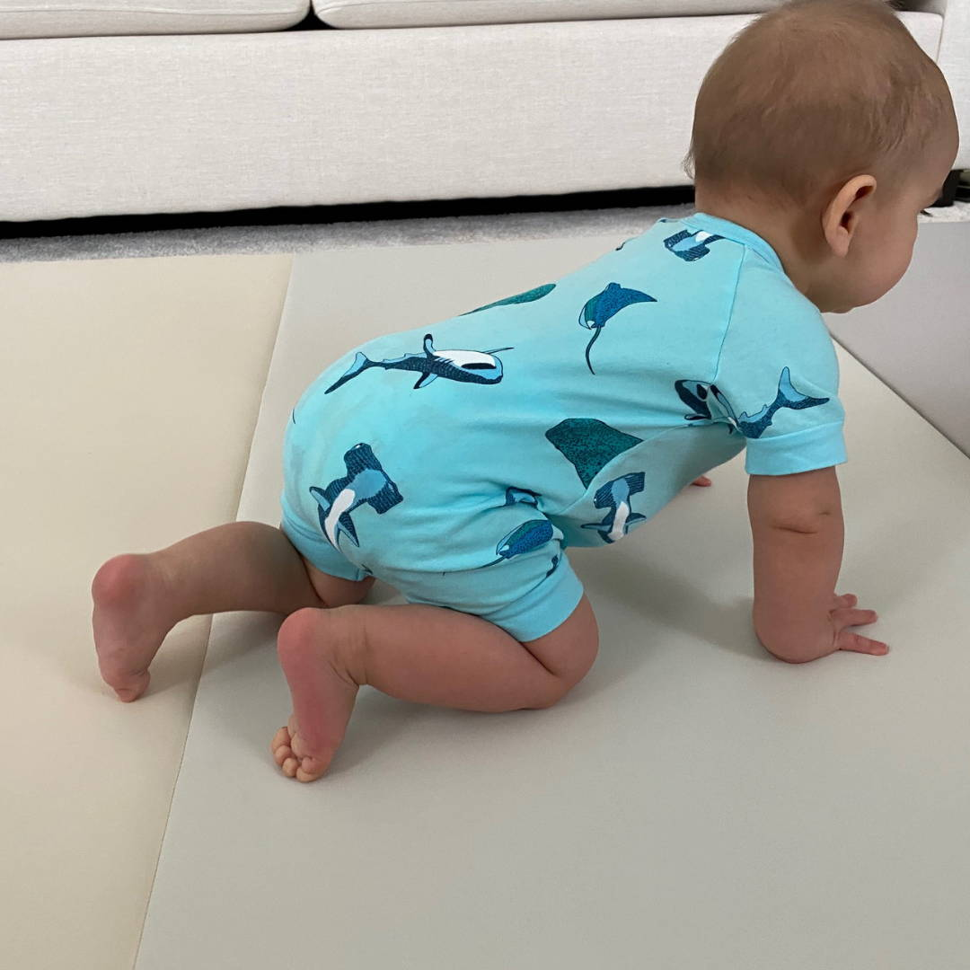 Baby milestone crawling on AlZiP playmat