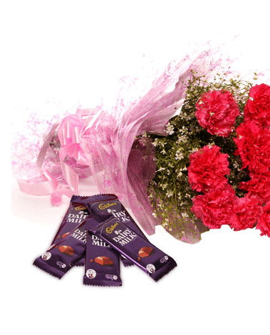 HF Carnations With Chocolates