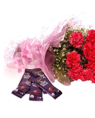 HF Carnations With Chocolates