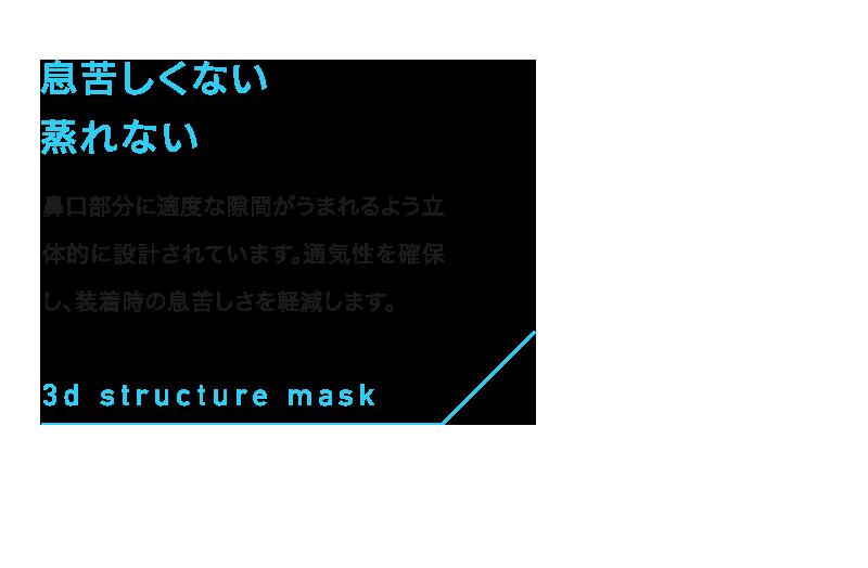 息苦しくない蒸れない 鼻口部分に適度な隙間がうまれるよう立体的に設計されています。通気性を確保し、装着時の息苦しさを軽減します。3d structure mask