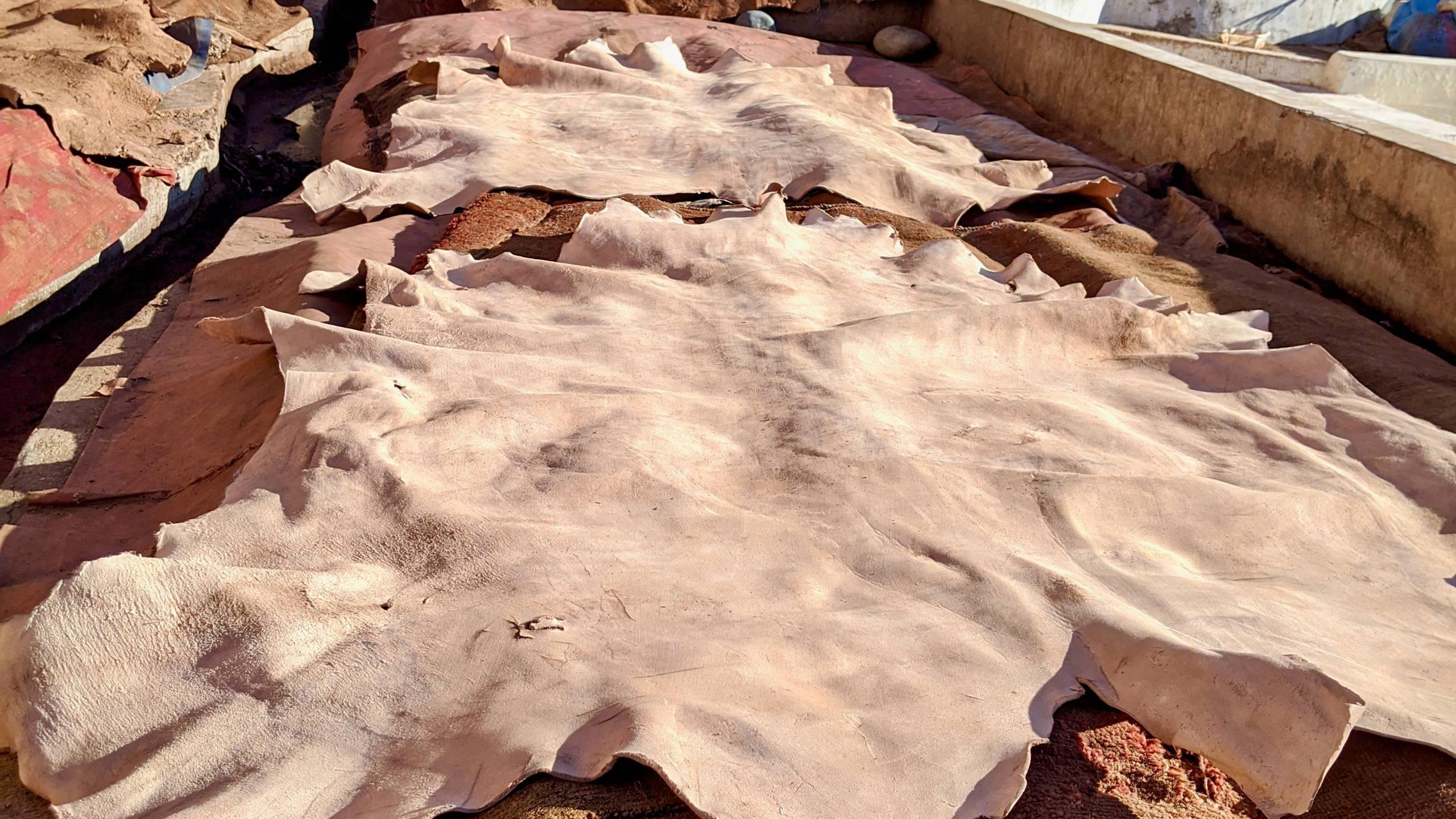 Handgefertigte Ledertaschen: Das Leder wird getrocknet