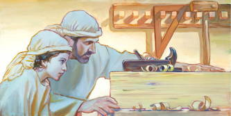 Painting of young Jesus and Joseph preparing a piece of lumber for carving.