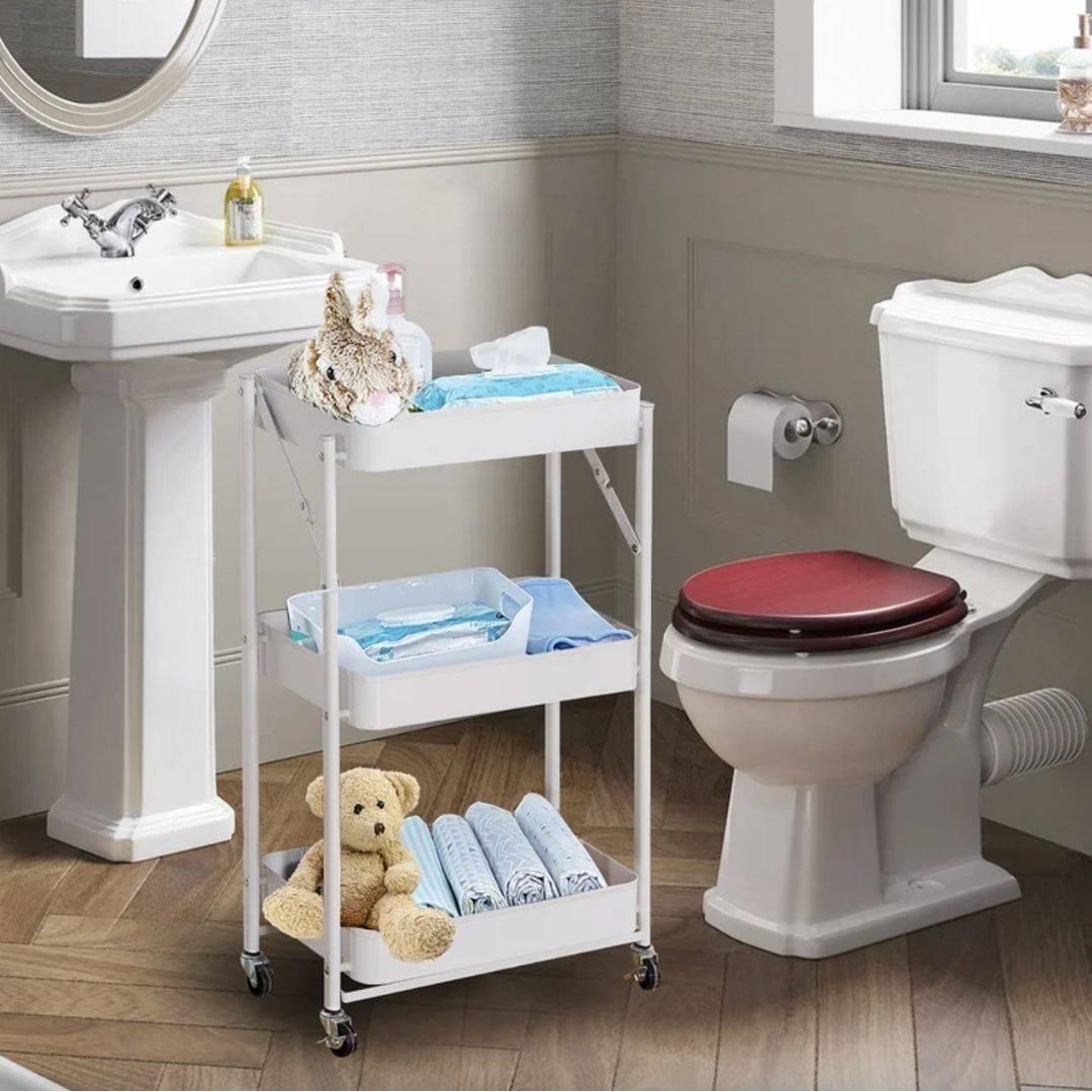 bathroom organizer, folding cart, bathroom rack, bathroom accessories