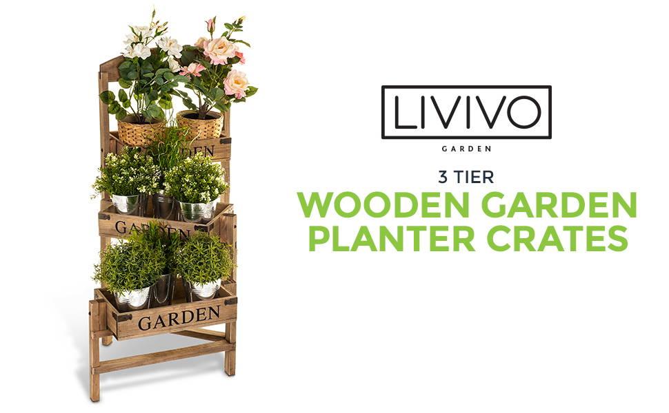 3 Tier Wooden Garden Planter Crates
