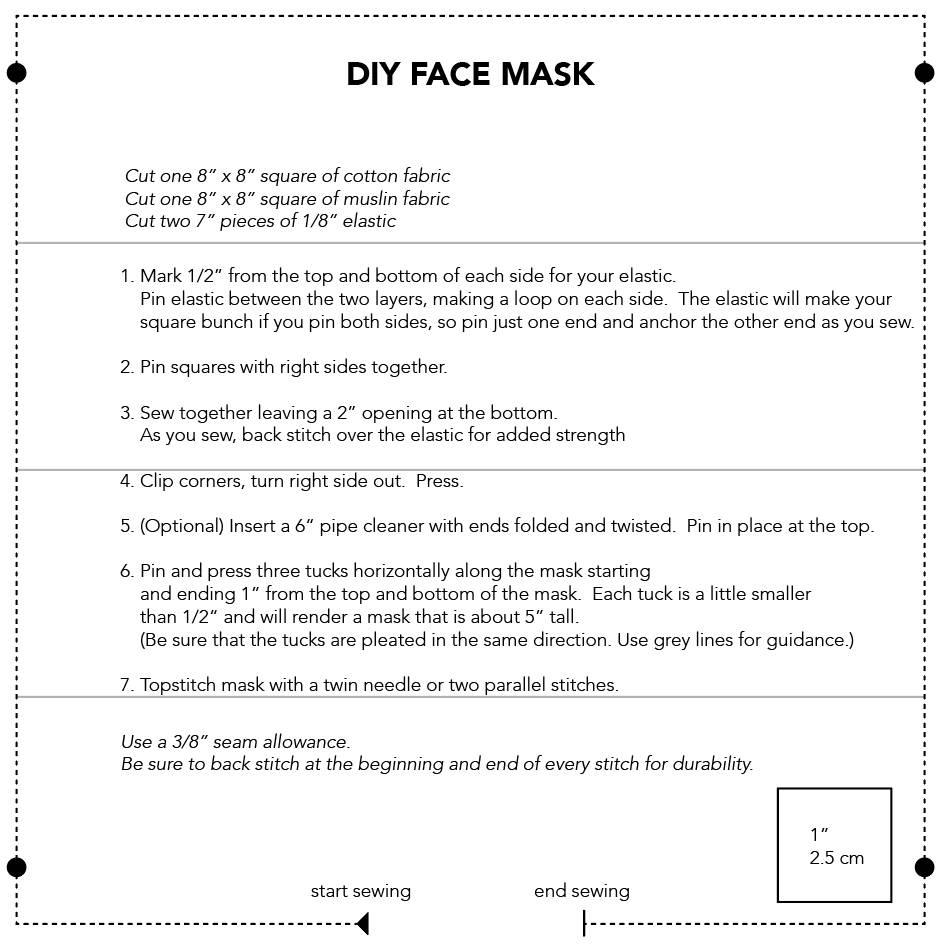Sewing Pattern DIY face mask