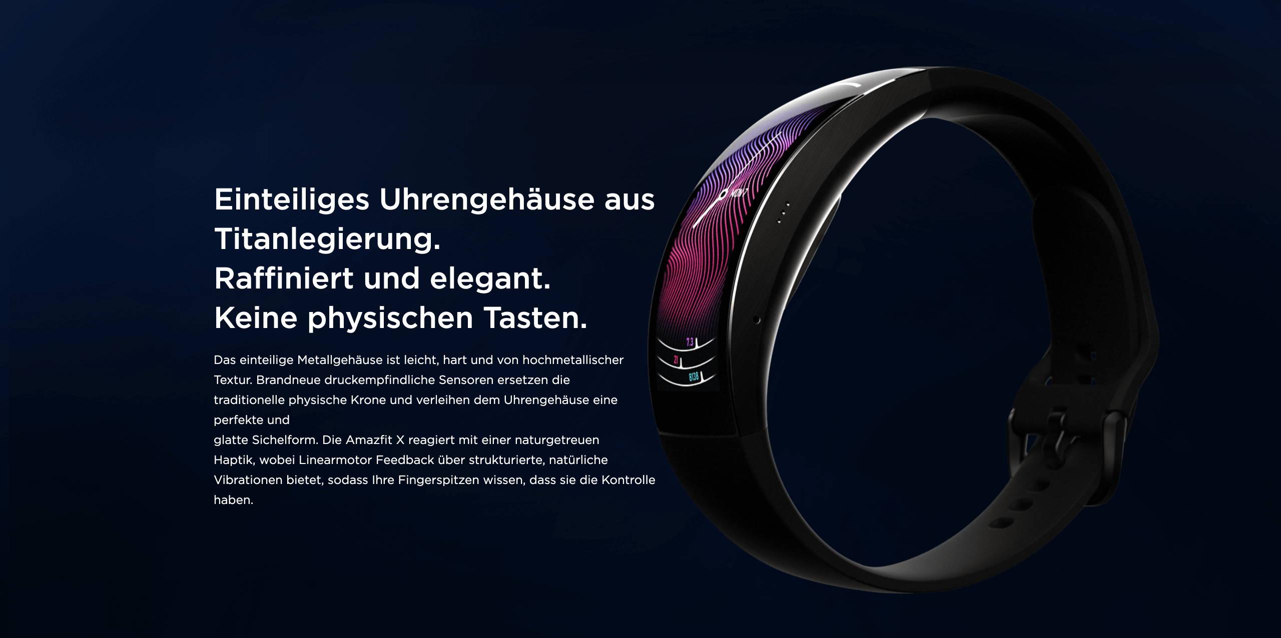 Amazfit X - Einteiliges Uhrengehäuse aus Titanlegierung. Raffiniert und elegant. Keine physischen Tasten.