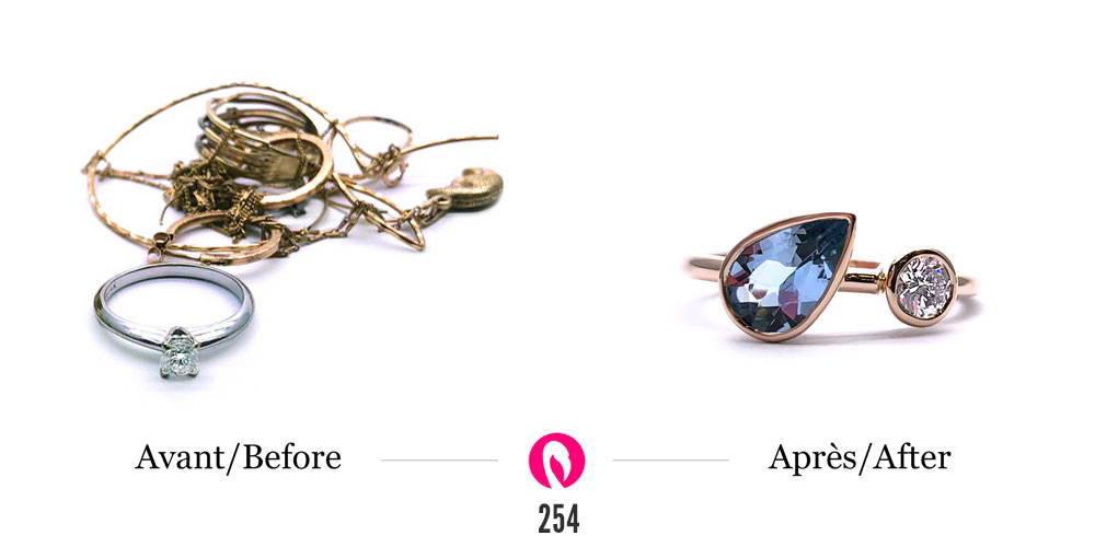 Transformation d'un amas de bijoux en bague larme topaze et diamant