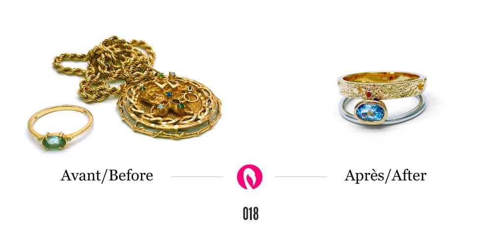 Un gros pendentif et une petite bague en or se transforme en une bague la traversée deux couleurs de Flamme en rose avec une topaze.