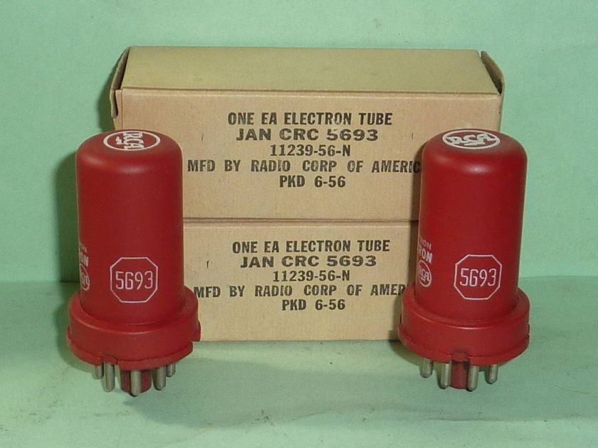 RCA 5693 6SJ7 Red Tubes, Matched Pair, NOS, NIB, Tested