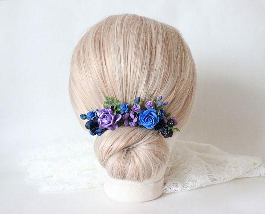 Шпильки с синими и фиолетовыми цветами 5шт, шпильки в прическу