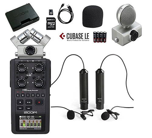 Zoom H6 Six-Track Handy Recorder Bundle with Movo Omnidirectional XLR Lavalier Mic