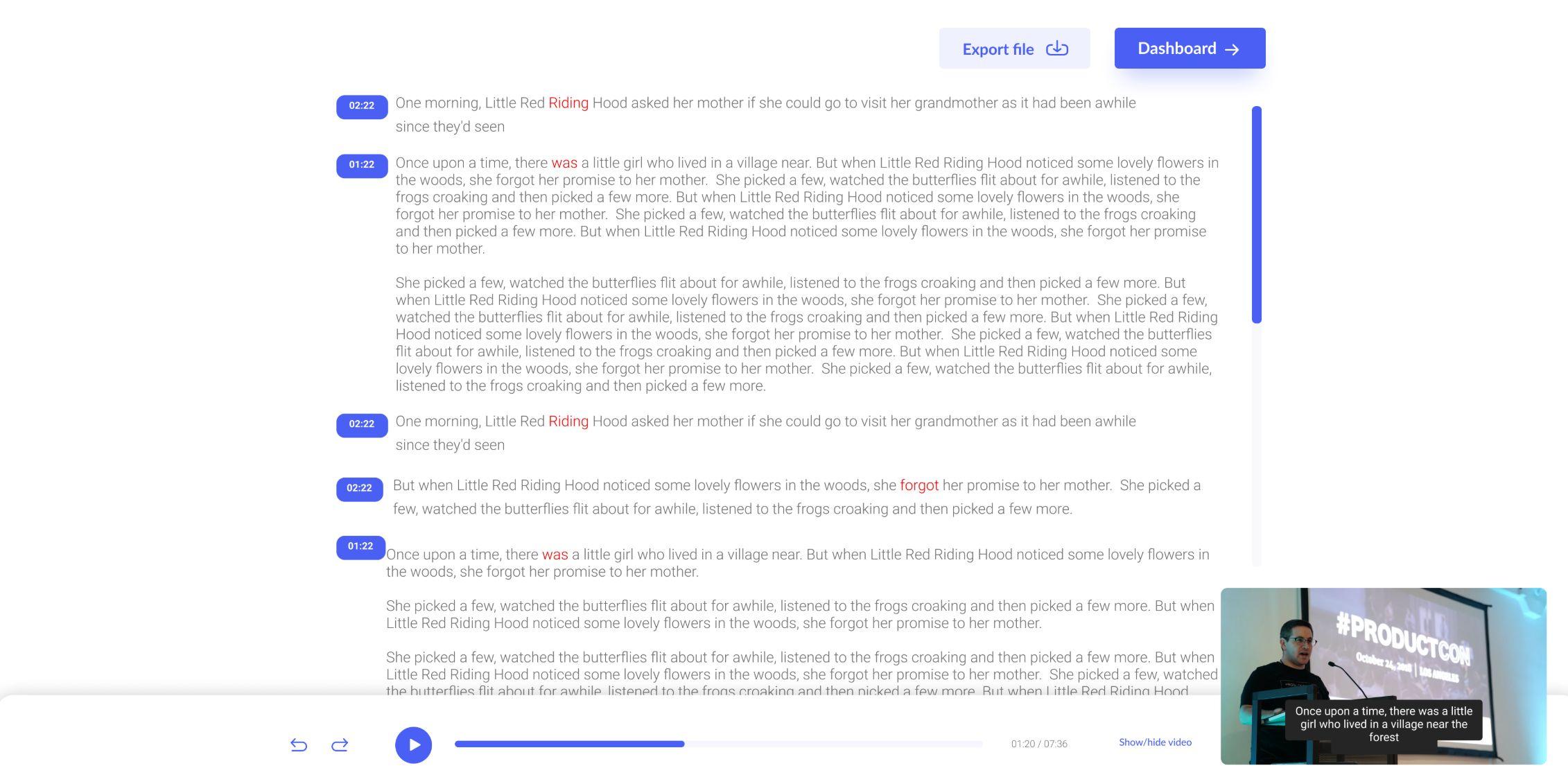 Final review screen   full screen mode