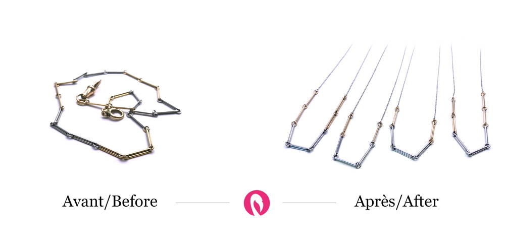Transformation of a tube gold necklace into four separate necklaces