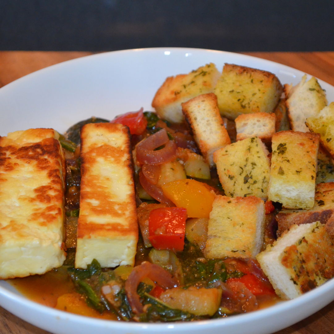 Date: 27 Apr 2020 (Mon) 109th Main: Pan-Fried Haloumi & Basil Ratatouille with Crusty Garlic Bread [324] [159.3%] [Score: 9.0] Cuisine: French Dish Type: Main