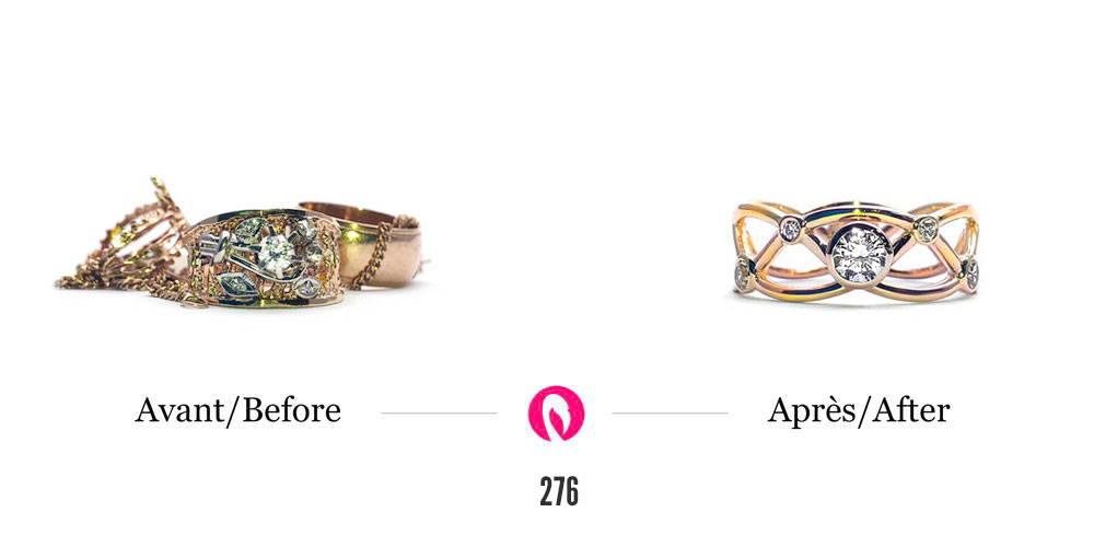 Transformation d'un amas de bijoux d'or avec diamant en une bague à tiges croisées avec un diamant au centre