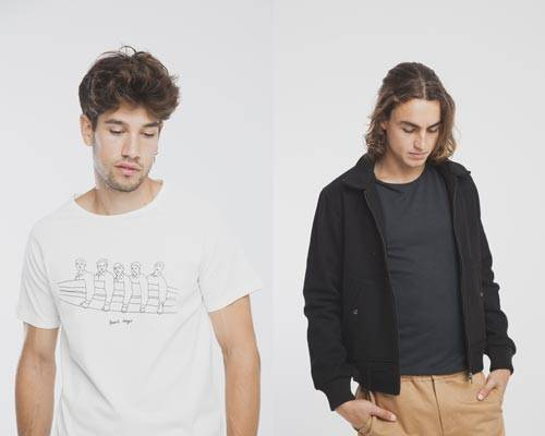 Man wearing white organic cotton t-shirt from Thinking Mu and Man wearing black wool jacket from sustainable brand Thinking Mu