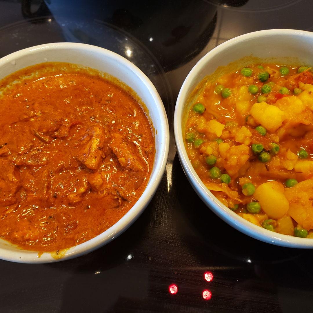 Chicken tikka masala and aloo mutter