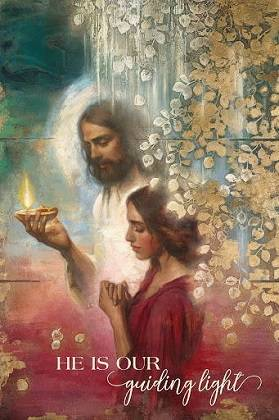 LDS art poster of Jesus holding a lamp and guiding a young woman who is praying.