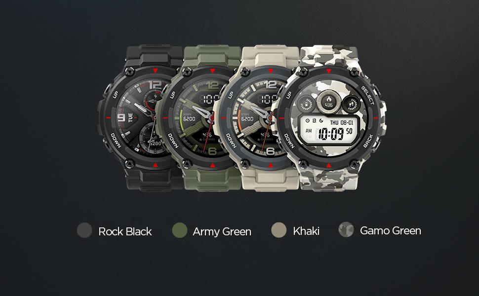 Amazfit T-Rex - Il a 4  couleures:Rock Black | Army Green | Khaki | Gamo Green