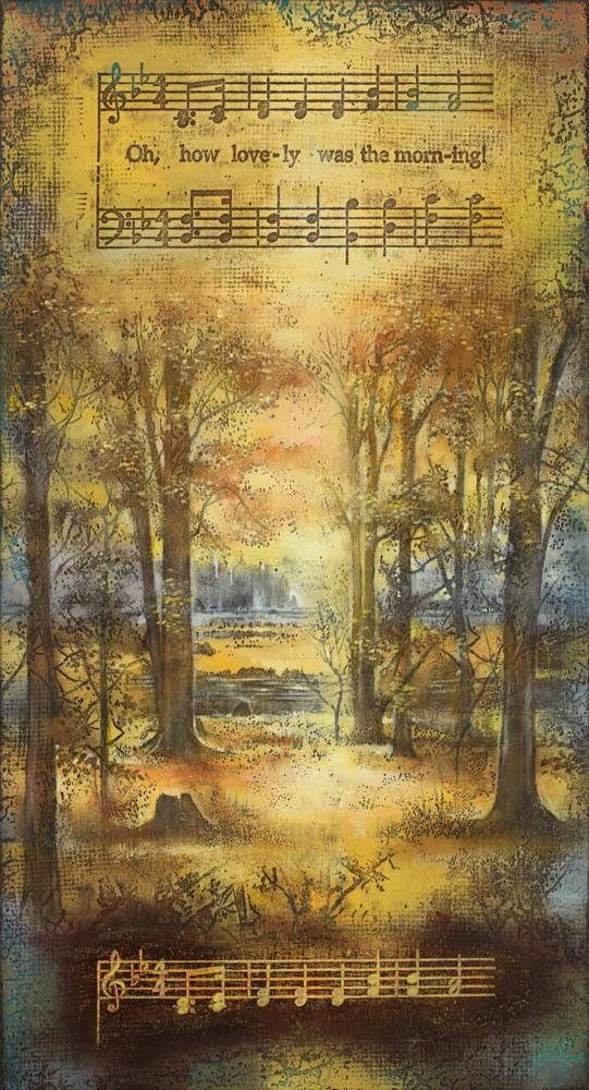 """Vertical LDS art painting of the Sacred Grove with lyrics from the hymn: """"Oh, How Lovely Was the Morning""""."""