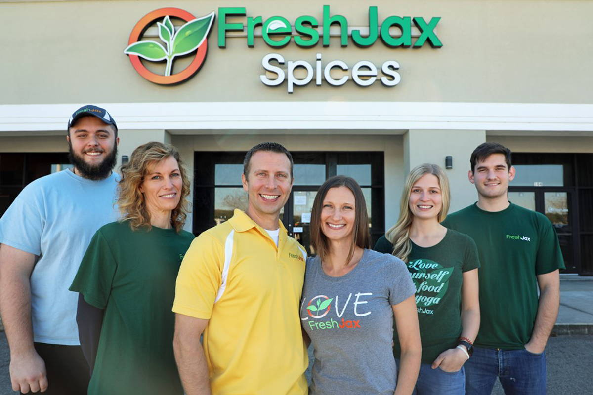 FreshJax Organic Spices Team Smiling In Front of Store