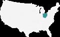 A map Highlighting Ohio