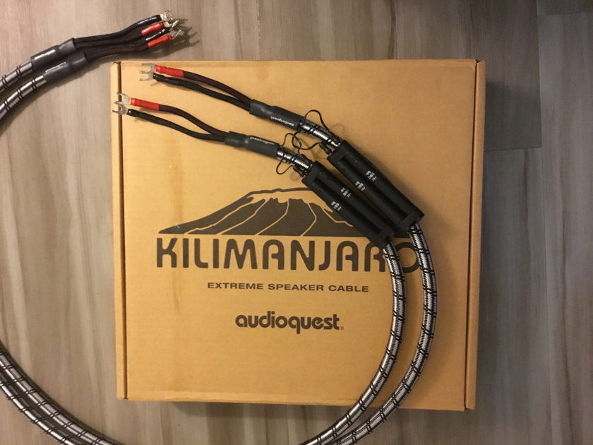 "Audioquest Kilimanjaro 6'0"" Full Range Spade - SOLID SILVER Speaker cables - no box"