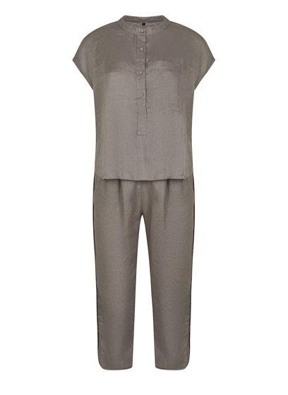 Серый костюм брюки и топ