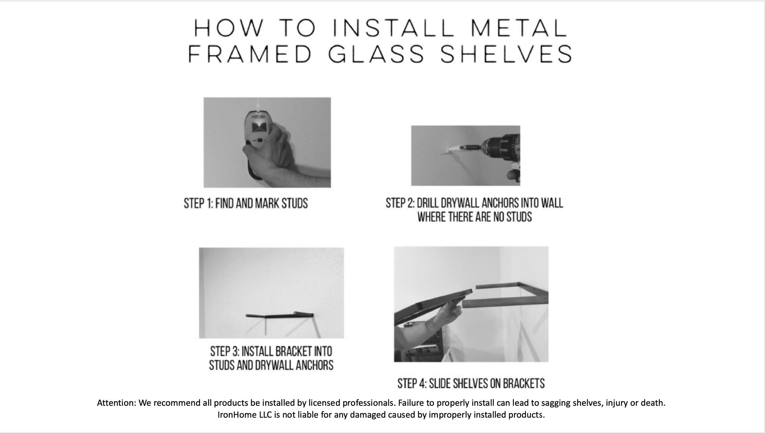 Heavy Duty Floating Shelf Rods Installation  Instructions