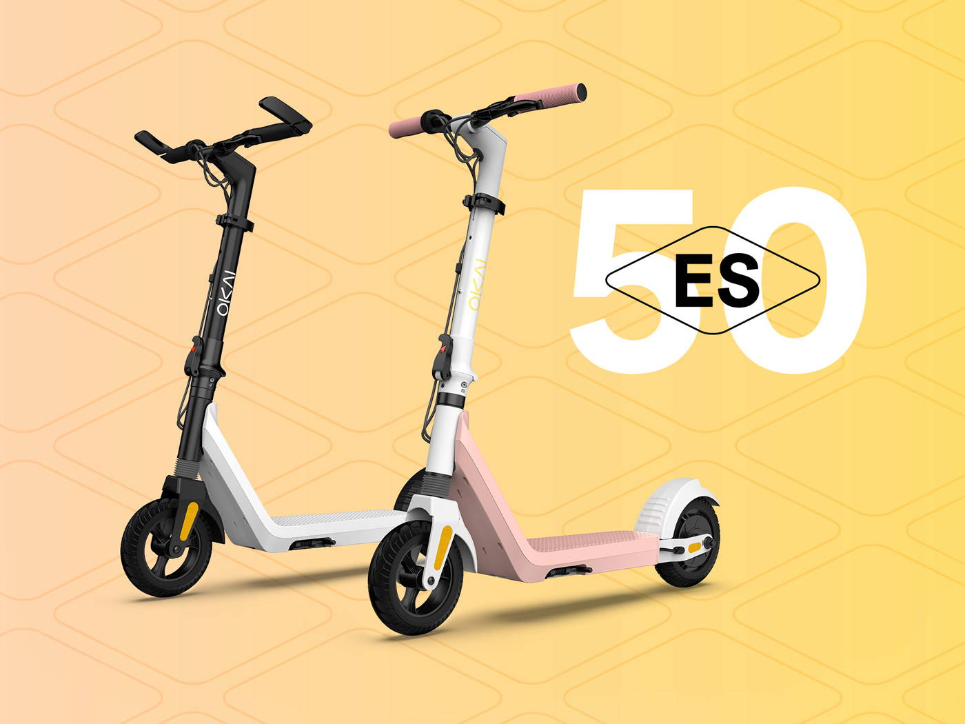 Okai Electric Scooter & Electric Bike Manufacturer, ES50 Electric Scooter White & Rosa