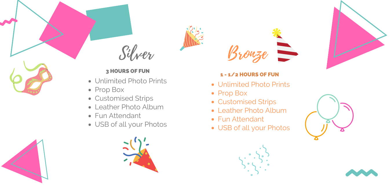 Silver and Bronze photobooth price packages
