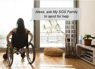 Lady in wheelchair asking Alexa to send for help