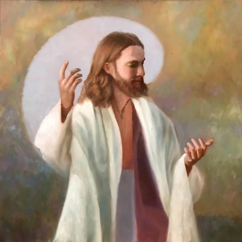 Painting of Jesus preaching.