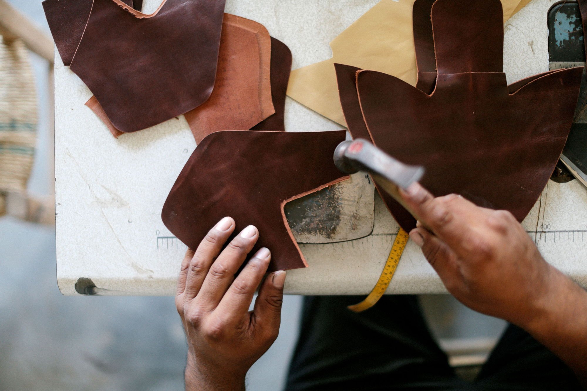 preparing the leather