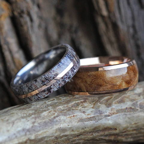 nature wedding band set rose gold titanium deer antler black ash bur