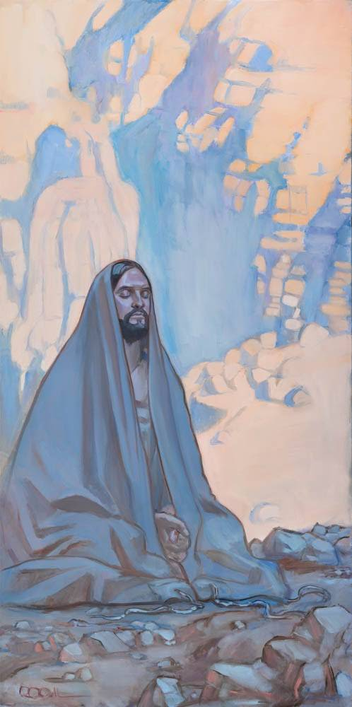 Vertical painting of Jesus kneeling in the desert and praying.